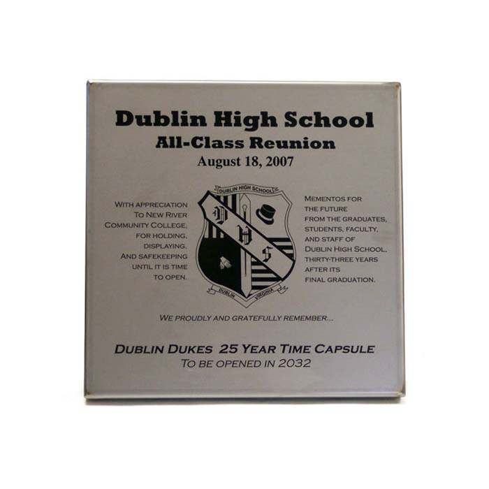 Dublin HS Engraved Time Capsule