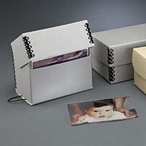 Box Archival 7x4x5 Flip Top Gray Metal Edge Photos Each