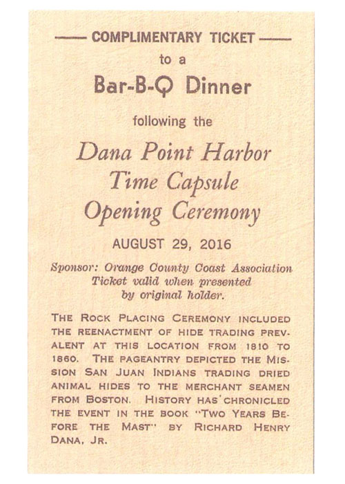 Ticket to BBQ at Dana Point