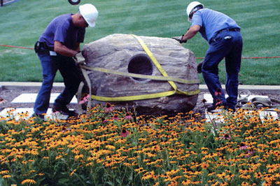 Moving the boulder into place