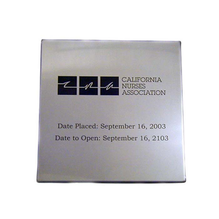 CA Nurses 14x14 Engraved Time Capsule