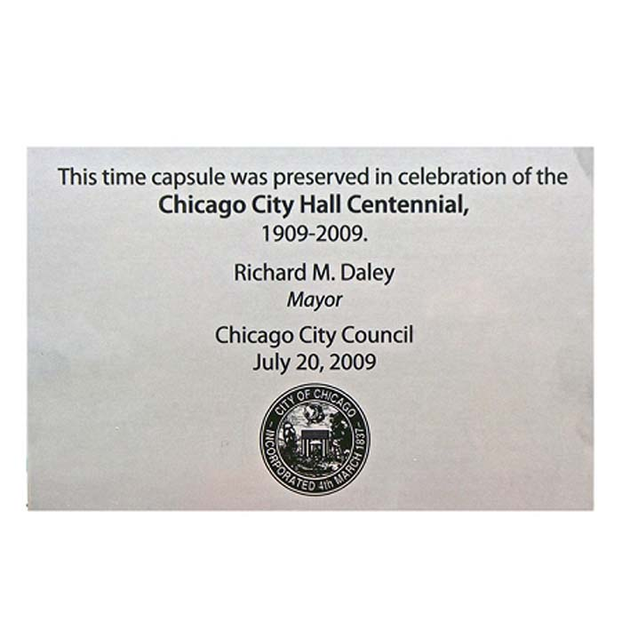 Chicago Time Capsule Engraved
