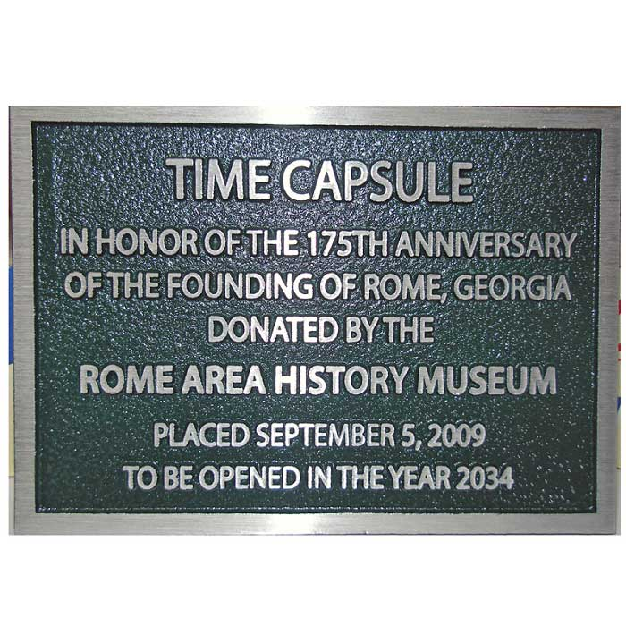 Rome Area Historical plaque with hunter green background