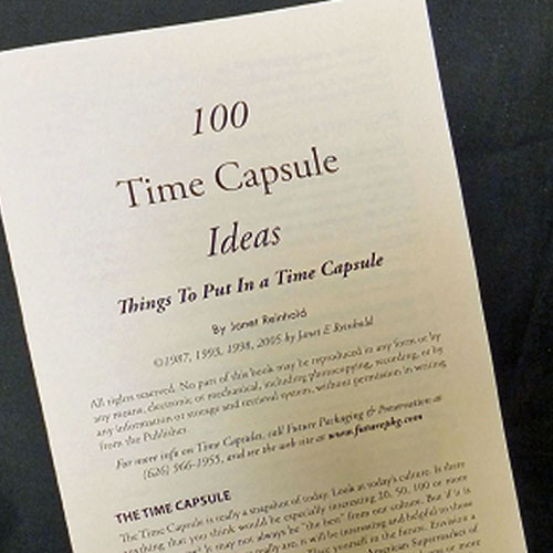 booklet 100 time capsule ideas for things. Black Bedroom Furniture Sets. Home Design Ideas