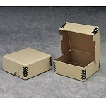Box Archival 3x3x1 Flip Top TAN Metal Edge Each