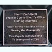 10x8 aluminum with single line, leatherette, black, gloss, blind mount for Sheriff Zach Scott Memorial