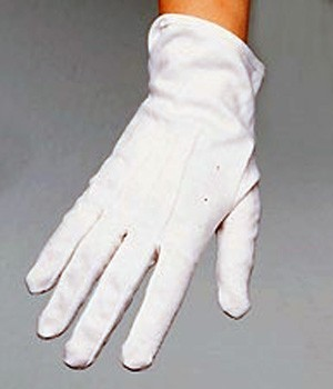 White cotton gloves are fitted, can be washed and reused over & over